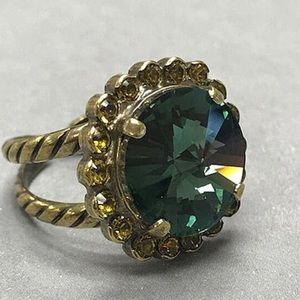 Sorrelli Round teal crystal ring, NWT